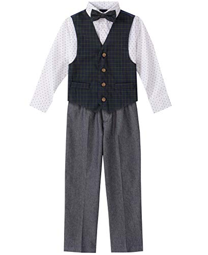 Nautica Boys' Little 4-Piece Set with Dress Shirt, Bow Tie, Vest, and Pants, Green Tartan, 7