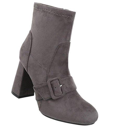 Schuhcity24 Damen Schuhe Stiefeletten High Heels Boots Grau