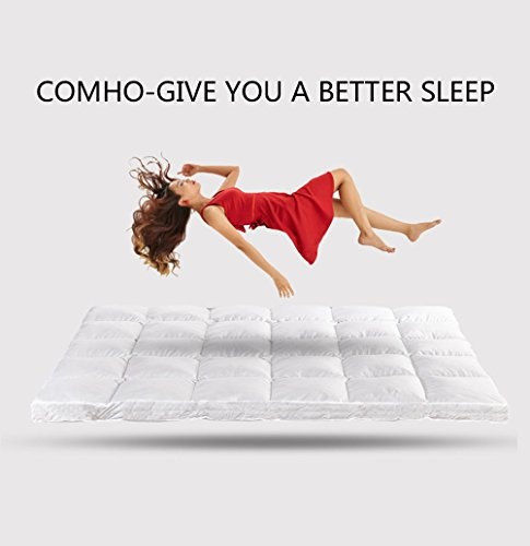 Mattress Pad Cover Full Size Luxurious 300TC 100% Cotton Top Down Alternative Mattress Topper 5 star Hotel Quality by Comho