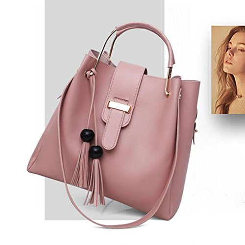 Handbags Composite Tassels Tote 3pcs Shoulder Crossbody Everpert Pu Bucket Set Pink Women nxz7wqw4O8