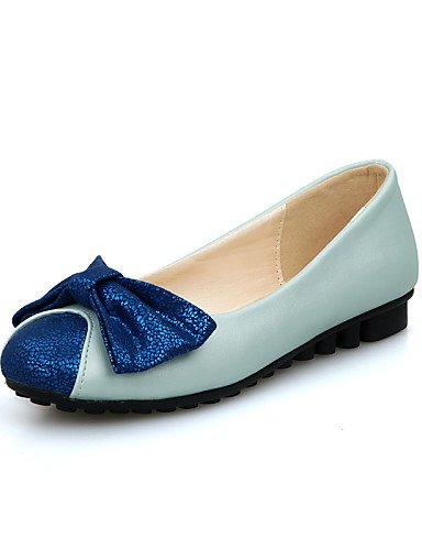 5 de negro talón 7 5 PDX 5 black uk4 punta mujer azul eu37 cn37 de redonda zapatos Flats us6 piel sintética Casual plano RxYdq7Yg