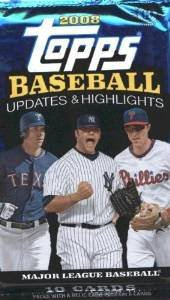 1 (One) Pack - 2008 Topps Update & Highlights Baseball Hobby Pack (10 Cards per Pack) - Possible Clayton Kershaw Rookie Card!!!