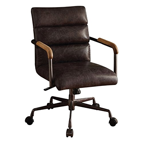Acme Furniture 92415 Harith Top Grain Leather Office Chair in Antique Ebony (Desk Antique Executive)