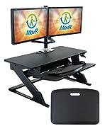 "iMovR ZipLift+ Standing Desk Converter with Ergonomic Tilting Keyboard Tray, Black, 35"""