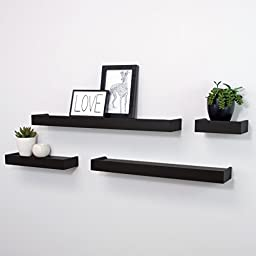 Kiera Grace Vertigo Set of 4 Ledge Shelves, 6 Inch, 12 Inch, 20 Inch, 24 Inch - Black