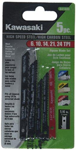 Kawasaki 841600 Jig Saw Blade Set, HSS, Assorted, 5-Piece Hss Jigsaw Blade Set