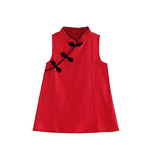 WOCACHI Toddler Baby Girl Dresses, Toddler Girls Summer Princess Dress Kids Baby Party Wedding Sleeveless Cheongsam Back to School Easter Egg Costume Parade Bunny Lily Eggs Roll Cushaw Basket Red]()