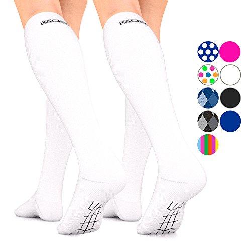 Go2Socks GO2 Compression Socks for Men Women Nurses Runners 16-22 mmHg (Medium) - Medical Stocking Maternity Travel - Best Performance Recovery Circulation Stamina - (White, Small 2-Pack)