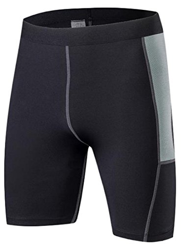 H&E Men¡¯s Compression Short Leggings-Base Layer Tights for Workouts,Cycling,Running,Sports,Training,Weightlifting-All Weather Shorts Black Medium