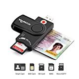 USB Smart Card Reader, Rocketek DOD Military USB CAC Memory Card Reader compatible with Windows, Linux/Unix, MacOS X - Build in SDHC/SDXC/SD Card Reader & Micro SD Card Reader for SIM and MMC RS & 4.0