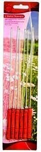 Pinchos de Metal con Mango de Madera x 6 para Barbacoas de Carne o Verduras
