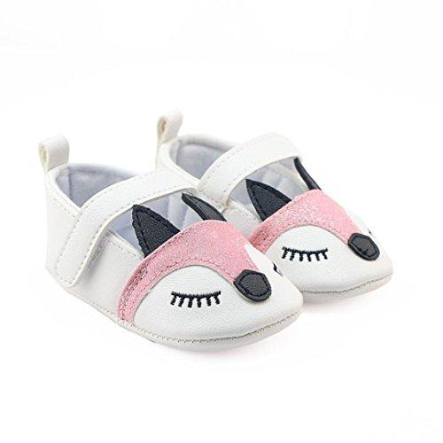 Babyschuhe Longra Baby Mädchen Fox-Muster Krippe schuhe Weiche Bootsschuhe alleinige Anti Rutsch Turnschuhe Lauflernschuhe(0 ~ 18 Monate) White