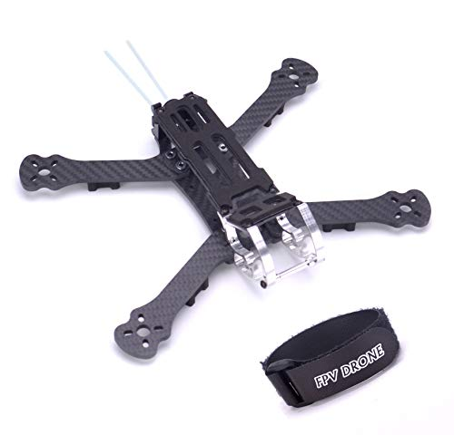 FPVDrone 230mm FPV Racing Drone Frame 5 Inch Carbon Fiber Quadcopter Frame Kit 4mm Arms and LiPo Battery Strap (Best Material For Quadcopter Frame)