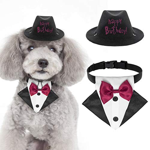 SCENEREAL Dog Birthday Hat Boy & Bandana with Bowtie Collar Set – Small Dog Birthday Party Supplies – Cute Gentleman…