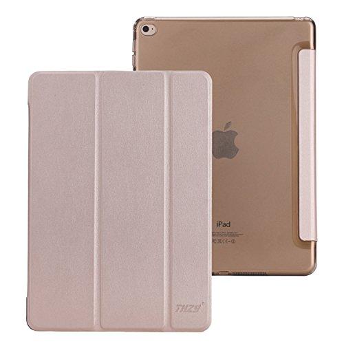 iPad Air 2 Huelle, THZY Intelligente Abdeckung + Transparent Rueckabdeckung (Ultra Slim, leicht, kratzfeste Auskleidung, Perfekt Fit, Automobil Wachen/ Schlafen-Funktion) fuer iPad Air 2 [2014 Release] - Champagner Gold