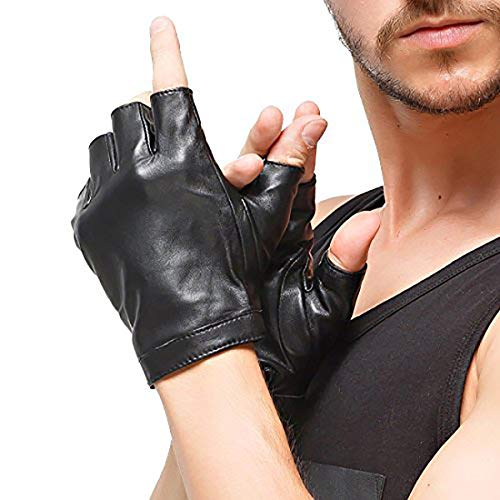 (Nappaglo Men's Classic Fingerless Gloves Imported Lambskin Leather Silk Lining Half Finger Driving Cycling Outdoor Gloves (S (Palm Girth:up to 8