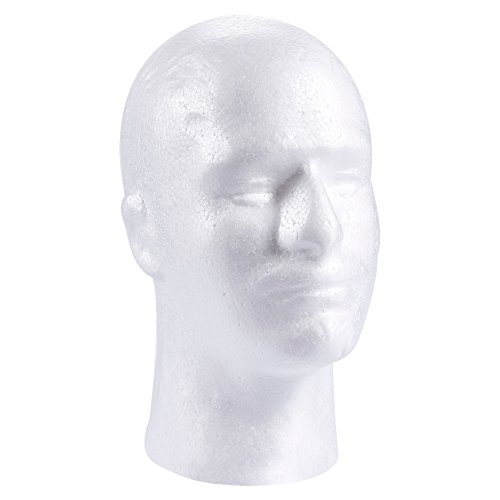 Craft Foam Wig Head - Man Mannequin Wig Holder Stand for Displaying Hat, Mask, Cap, White Polystyrene Foam, 5 x 10.7 x 8 Inches