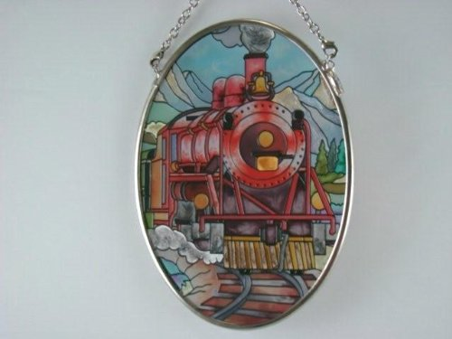Amia Hand Painted Glass Suncatcher with Train, 3-1/4-Inch by 4-1/4-Inch Oval