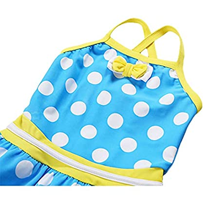 Sun Protection Kikibaby Baby//Toddler Girls Sleeveless One Piece Dot Bow Swimsuit with UPF 50