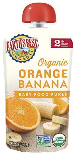 Earth's Best Organic Baby Food Puree Pouch, Orange & Banana, Stage 2 For Babies 6 months & Older, 4.2 Oz (Pack of 12) [Packaging May Vary]
