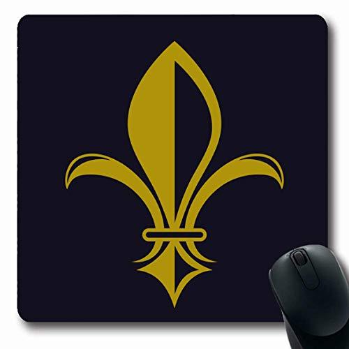 Fleur De Lys Emblem - Ahawoso Mousepads for Computers France Artistic Gold Fleurdelis On Dark Blue Antique Classic Curl Elegance Emblem Fleur Oblong Shape 7.9 x 9.5 Inches Non-Slip Oblong Gaming Mouse Pad