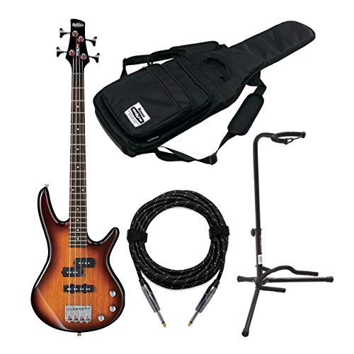Ibanez GSRM20 MiKro Short-Scale Bass Guitar Bundle with Gig Bag, Knox Guitar Cable and Stand (4 Items)