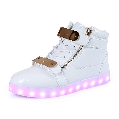 SAGUARO® 7 Farbe USB Aufladen LED Leuchtend Sport Schuhe Sportschuhe Sneaker Turnschuhe für Unisex-Kinder Jungen Mädchen, Weiß, 34