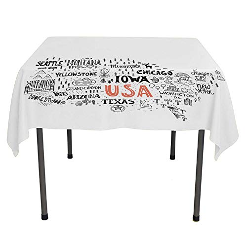 - USA Map Summer Table Cloths United States of America City Typography Pattern with Local Figures Concept Grey Coral White Washable Picnic Tablecloth Spring/Summer/Party/Picnic 36 by 36