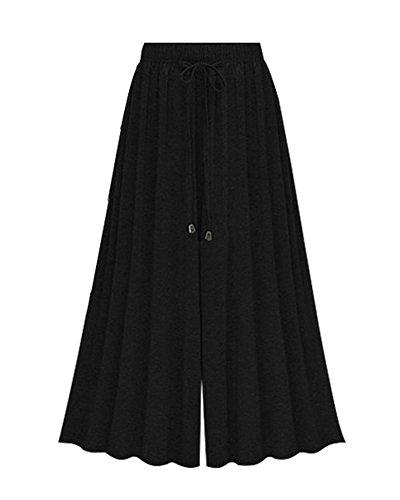 Femme Grande Pantalon Taille 4 Noir Longueur Baggy Large 3 Mince Haute 4wwR1SHq