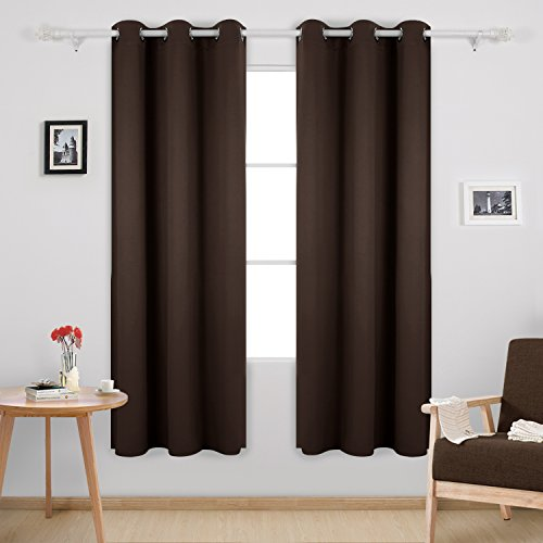 Deconovo Thermal Insulated Curtains Room Darkening Grommet Curtain Panels for Living Room 42x72 Inch Chocolate One Curtain Pair (High Thermal)