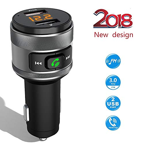 Bluetooth FM Transmitter Car Charger, Acenx Wireless FM Radio Transmitter, Bluetooth Radio Adapter Car Kit with Hands-Free Calling and Dual USB Ports Quick Charger 5V/3.0A by ACENX