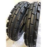 (2 TIRES + 2 TUBES) 6.50-16 8 PLY ROAD CREW KNK33 3-Rib Farm Tractor Tires 6.50x16