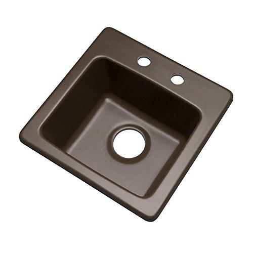 Dekor Sinks 27292Q Duxbury Composite Granite Prep Sink with Two Holes, 16