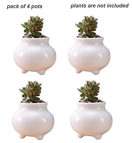 Everyday Better Life 4 PCS Set Cute Tripod Shaped Ceramic Home Garden Decoration Succulent Cactus Flower Pot/Plant Pots/Planter/Container
