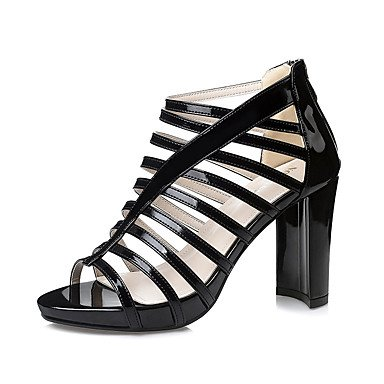 Leather Sandals Primavera Estate Gladiator Dress grosso Zipper donna tacco YCMDM , black , us6 / eu36 / uk4 / cn36