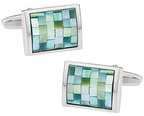 Cuff-Daddy Gray Green Mother of Pearl Mosaic Stainless Steel Cufflinks with Presentation Box (Stainless Steel Anniversary Cufflinks)