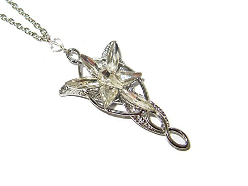 - QueenGEEK Lord of The Rings Arwen Evenstar Elven Princess Crystal Pendant Necklace US Seller