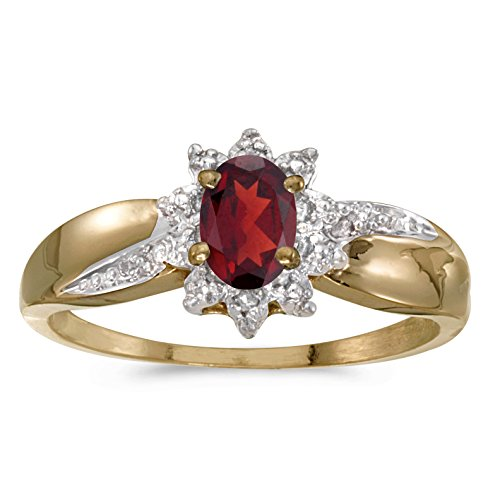 (10k Yellow Gold Oval Garnet And Diamond Ring (Size 7.5))