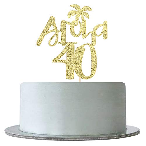 Gold Glitter Aloha 40 Cake Topper for 40th Birthday,Wedding,Anniversary,Hello 40,Hawaiian Theme Tropical Party Decorations Supplies]()