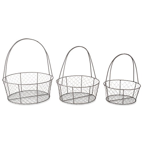 (DII Rustic Farmhouse Nesting Egg Baskets, Chicken Wire, Rustic Bronze, Round, Assorted Sizes, Set of 3, Vintage Chic)