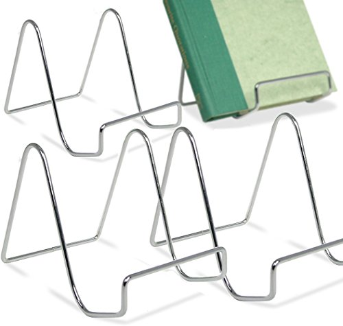 (BANBERRY DESIGNS Silver Wire Easel Display Stand - Smooth Chrome Metal - 4 Inch - Pack of 4)