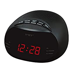 Dssttyle Clock-Controlled LED Alarm Clock with Radio & Snooze Function Gift Decoration European Specification 13.5 x 6.5 x 13.5CM Red