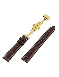 RECHERE 22mm Alligator Grain Leather Watch Band Strap Gold Push Button Deployment Clasp Contrast Stitch Brown