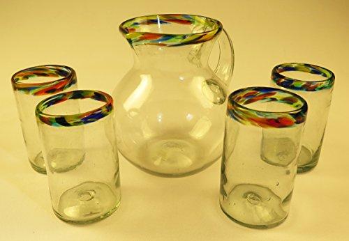 Mexican Glasses and Pitcher Confetti Rim, Tumblers 16 oz, (4), Bola Pitcher 80 oz