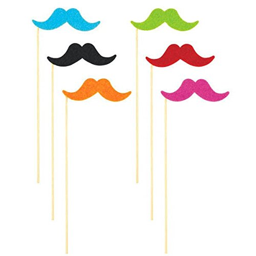 Cinco De Mayo Fiesta Party Assorted Colors Handle-Bar Style Moustache On A Stick Accessories, Synthetic Fiber, Pack of 6