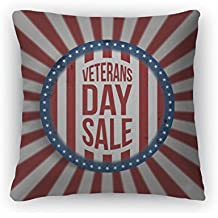 """Gear New Throw Pillow Accent Decor, Circle Banner With Veterans Day Sale Text, 20"""" Cover Only, 6599938GN"""