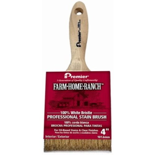 Premier 4'' Stain Brush White China Bristle with Wood Handle, Farm-Home-Ranch, FHR00144