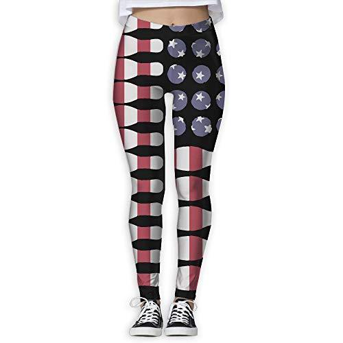 NO2XG Lover Bowling Ball Ki American Flag Women's Full-Length Workout Leggings Workout Running Yoga Sports Pants by NO2XG