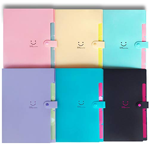 (Initial heart 6 Colored Expanding File Folders with 5 Pockets Accordian Folder Organizer A4 Letter Size Plastic Paper Organizer Document Holder for School Office Travel Family(6 Colores Small Fresh))