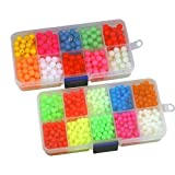 QualyQualy Fishing Beads Assorted,Fishing Tackle Hard Plastic Red Yellow Mix Color Luminous Glow Fishing Beads Bulk Kit